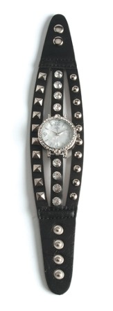 Triple Band Watch with Cross, Black with Rhinestones