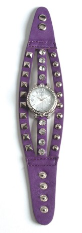 Triple Band Watch with Cross, Purple and White with Rhinestones