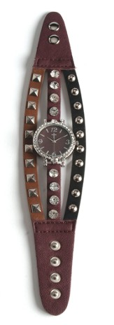 Triple Band Watch with Cross, Brown, Tan and Black with Rhinestones