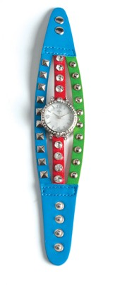 Triple Band Watch with Cross, Blue, Red and Turquoise with Rhinestones