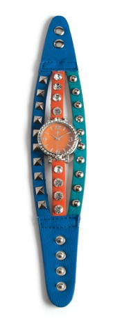 Triple Band Watch with Cross, Navy, Turquoise and Orange with Rhinestones