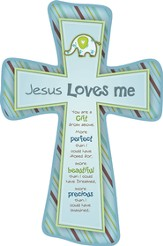 Jesus Loves Me Cross, Elephant, Blue