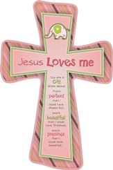 Jesus Loves Me Cross, Elephant, Pink