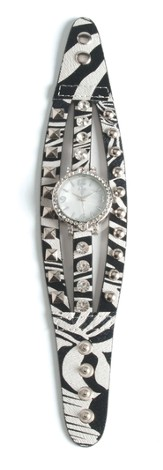 Triple Band Watch with Cross, Zebra with Rhinestones