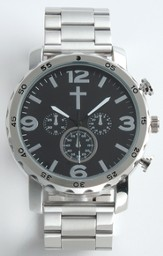 Chronographic Style Watch with Cross on Round Face, Silver, Boxed