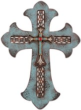 Western Layered Wall Cross, Turquoise