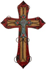 Burlap Layered Wall Cross, Red