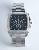 Chronographic Style Watch with Cross on Square Face, Silver, Boxed