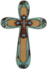 Western Burlap Wall Cross, Turquoise