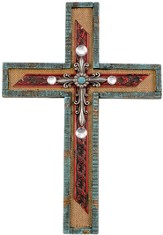 Tin Wall Cross, Turquoise