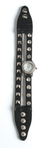Double Band Watch with Cross, Black with Rhinestones