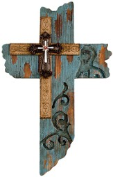 Wood Wall Cross, Turquoise