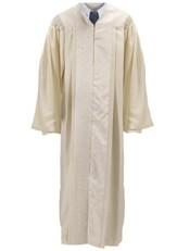 White Pulpit Robe with Jacquard Panel