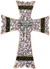 Scroll Wall Cross, Gray