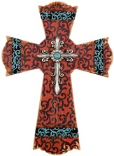 Scroll Wall Cross, Red