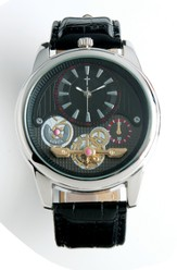 See Thru Dial Watch with Cross, Black and Silver