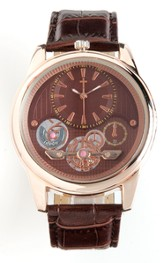 See Thru Dial Watch with Cross, Brown and Gold