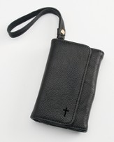 Trifold ID, IPhone, Wallet Wristlet with Cross, Black