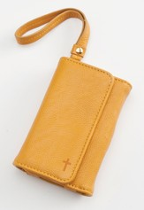 Trifold ID, IPhone, Wallet Wristlet with Cross, Tan
