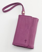 Trifold ID, IPhone, Wallet Wristlet with Cross, Purple