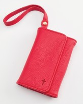 Trifold ID, IPhone, Wallet Wristlet with Cross, Red