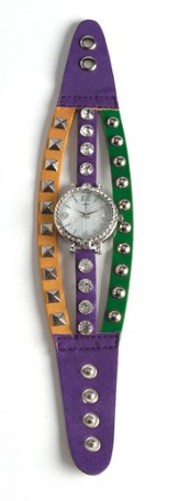 Triple Band Watch with Cross, Purple, Yellow and Green with Rhinestones