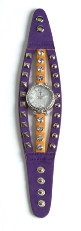 Triple Band Watch with Cross, Purple and Yellow with Rhinestones