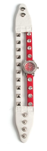 Double Band Watch with Cross, White and Red with Rhinestones