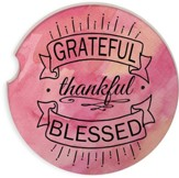 Grateful Thankful and Blessed Watercolor Car Coaster
