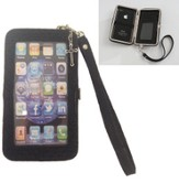 iPhone 4/4S Wristlet Case, with Cross, Black