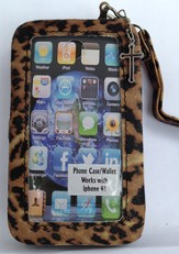 iPhone 4/4S Wristlet Case, with Cross, Leopard