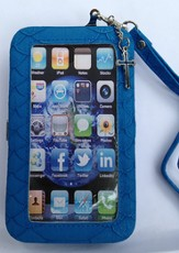iPhone 4/4S Wristlet Case, with Cross, Blue