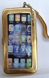 iPhone 5 Wristlet Case, with Cross, Gold