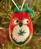 Owl Ornament, Red, Fair Trade Product