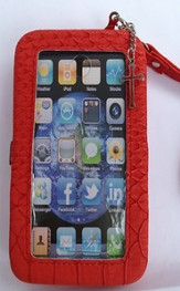 iPhone 5 Wristlet Case, with Cross, Red