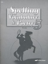 Spelling, Vocabulary, & Poetry 5 Tests