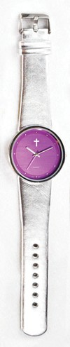 Jumbo Dial Watch, Purple Face, Silver Strap