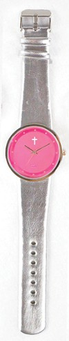 Jumbo Dial Watch, Pink Face, Silver Strap