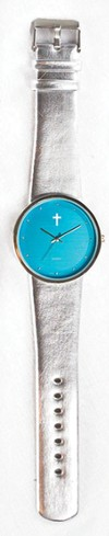 Jumbo Dial Watch, Teal Face, Silver Strap