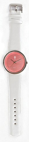 Jumbo Dial Watch, Pink Face, White Strap