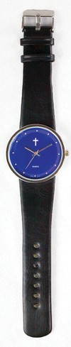 Jumbo Dial Watch, Blue Face, Black Strap