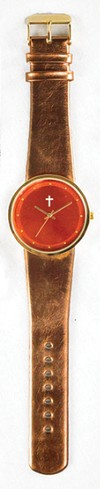 Jumbo Dial Watch, Orange Face, Bronze Strap