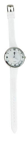 Slim Silicone Watch, with Cross, White