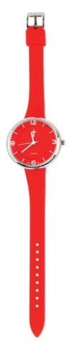 Slim Silicone Watch, with Cross, Red