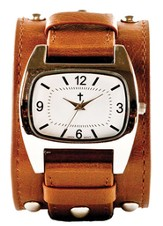 Rectangle Watch, Wide, Brown Strap