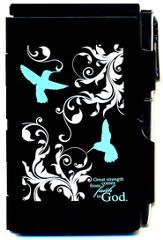 Great Strength Comes From Faith In God, Hummingbird, Note Case, Black