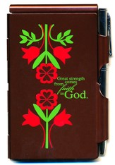 Great Strength Comes From Faith In God, Flowers, Note Case, Brown