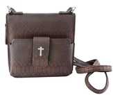Crossbody Wristlet, Faux Leather, Brown