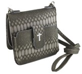 Crossbody Wristlet, Faux Leather, Gray