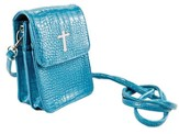 Crossbody Wristlet, Faux Patent Leather Croc-Look, Aqua